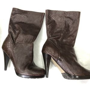 Cole Haan Brown Snakeskin Stiletto Calf-high Boots